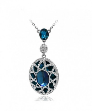 "Kemstone Silver Sapphire Cubic Zirconia Pendant Necklace Women Fashion Jewelry- 19.67"" - C312HLRIYAN"