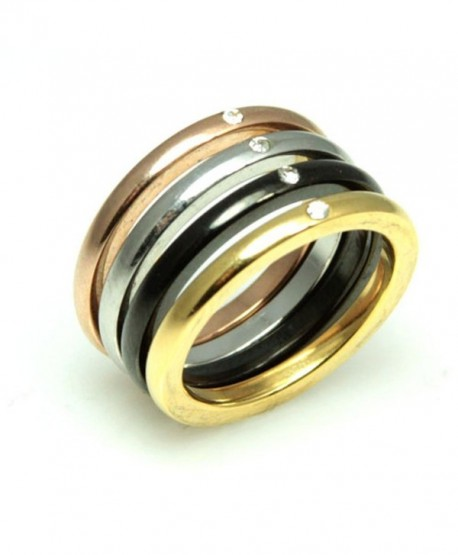 Stackable Four Color Rings With Cubic Zirconias - Colored Stainless Steel Bands - CH110BHD4MF