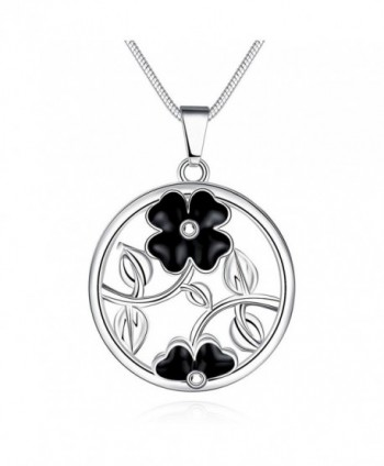 Tobert Women's 18K Silver Plated Oil Drip Good Luck Four Leaf Clover Pendant Necklace - CO185K0Y8S2