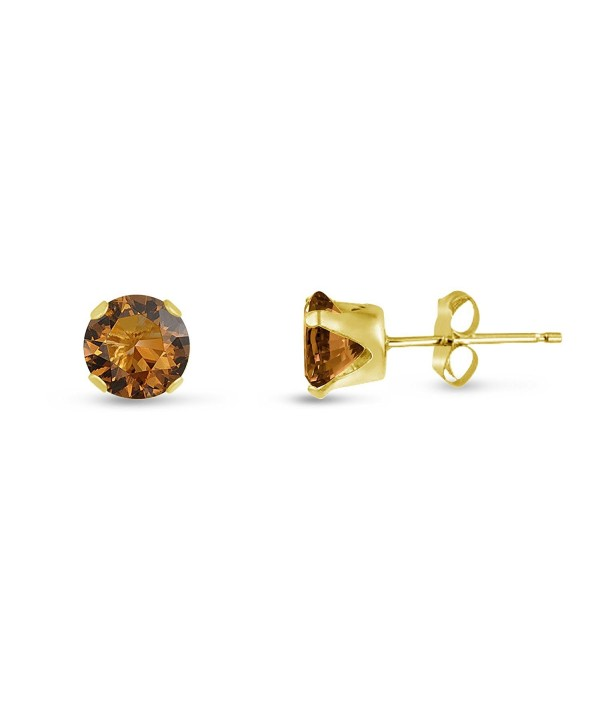 Round 5mm Coffee Brown CZ Stud Earrings (1.58 cttw) Sterling Silver- 14k Yellow or Rose Goldplate - CJ11KKCGUTZ