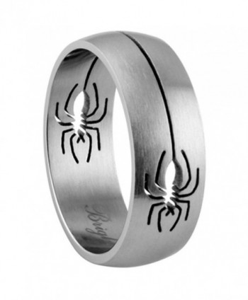 8MM Stainless Steel Matte Finish Spider Design Ring Wedding Band (Size 9 to 13) - CI11BC4IAU1
