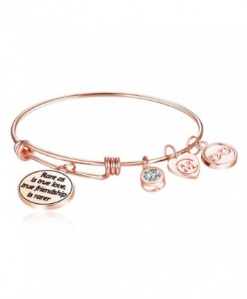 Rare as is true love- true friendship is rarer Womens Charm Bangle Bracelet Jewelry Gifts - Rose Gold - C91879HRRZN