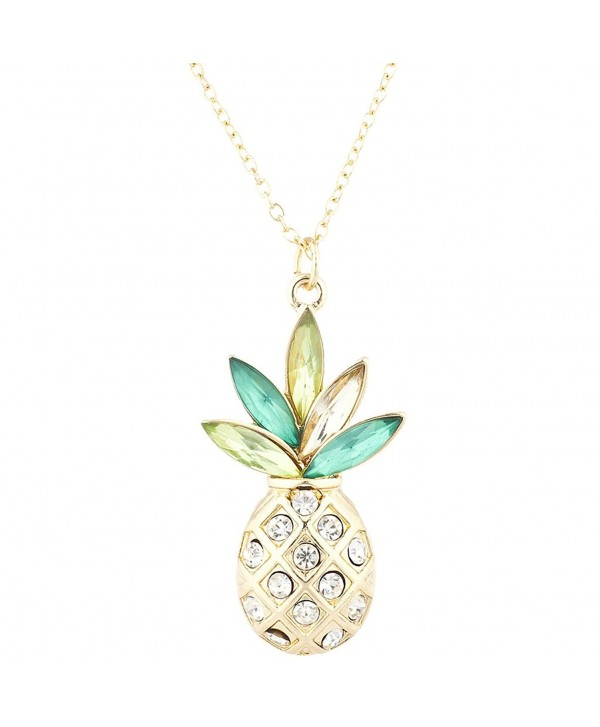 Lux Accessories Gold Tone Crystal Green Rhinestone PIneapple Pendant Necklace - CD183S53KRN