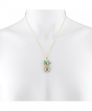 Lux Accessories Rhinestone PIneapple Necklace in Women's Pendants