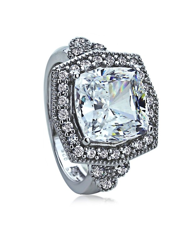 Sterling Silver Hexagon CZ Vintage Style Halo Cocktail Ring ( Size 5 to 9 ) - C0120FSW4UH