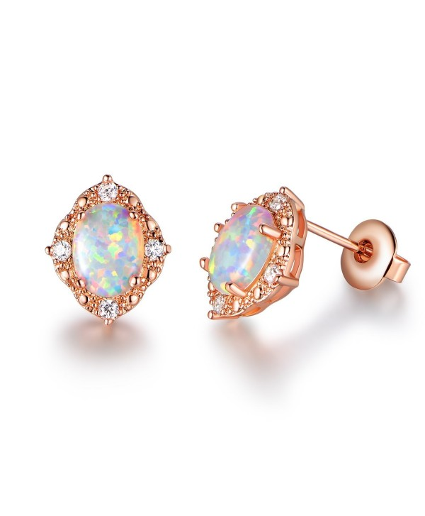 GEMSME Created white Opal 6x8mm oval Stud Earrings - CQ186G3G5YQ
