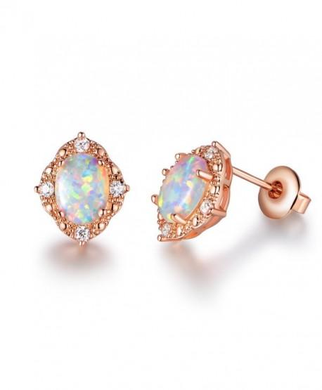 GEMSME Created white Opal 6x8mm oval Stud Earrings - CQ186G3G5YQ