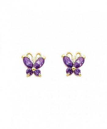 Women's 14k Yellow Gold Butterfly Purple CZ Stud Earrings Screw Back (0.23 in x 0.23 in) - CB12IIVQZOT