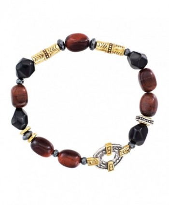 "Silpada 'Fired Up' Sterling Silver- Brass- Agate- Hematite- and tiger's Eye Stretch Bracelet- 6.75"" - C512N0DUOY1"