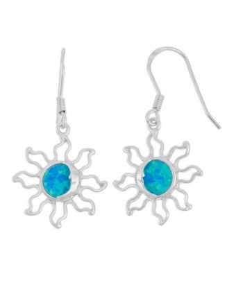 Sterling Silver Created Blue Opal Solar Eclipse Sun Dangle Earrings - CI127RQ3G93