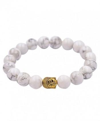 Malloom Tibet Buddha Bracelet Elastic White Rammel Beaded Charm Bracelets - CN12D54NSW1