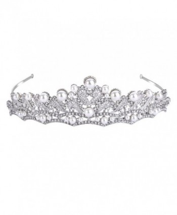 FANZE Women's Austrian Crystal Cream Simulated Pearl Victorian Style Heart Bridal Princess Crown Tiara Hairband - CT1832TOCQW