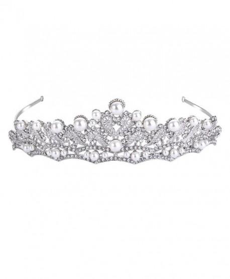 FANZE Women's Austrian Crystal Cream Simulated Pearl Victorian Style Heart Bridal Princess Crown Tiara Hairband - CT1832TOCQW