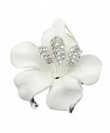SANWOOD Lily Rose Crystal Rhinestone Breastpin Broach Pins Bridal Wedding Brooch (White) - C117YTENX9I