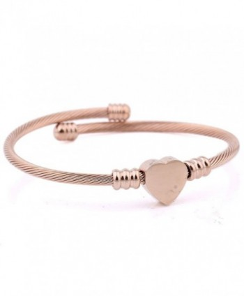 RoseSummer Titanium Shaped Bracelet Twisted - Rose Gold - CG18649KMZ4