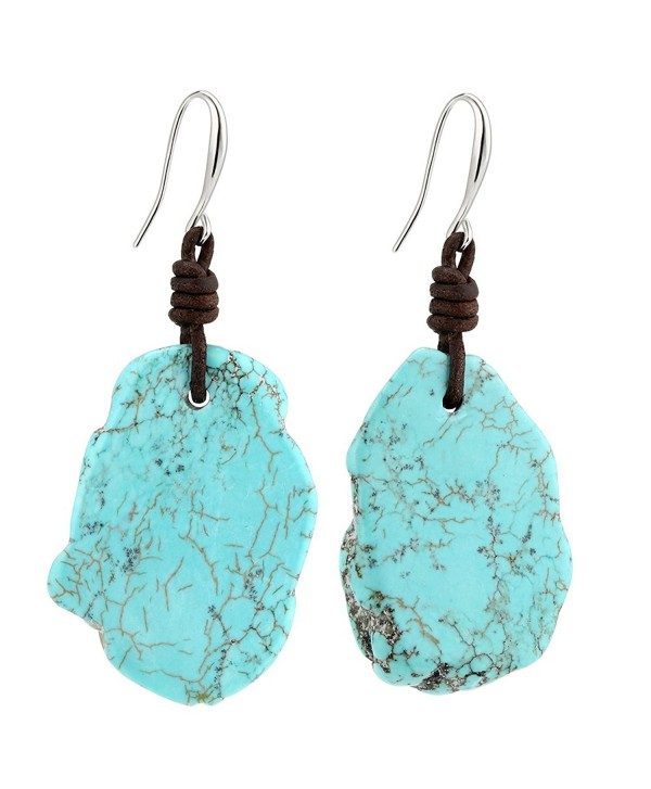 Bohemian Reconstituted Dangle Turquoise Earrings with Handmade Genuine Leather Knot Gypsy Jewelry - CG12O2AEKWD