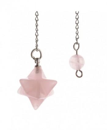 JOVIVI Natural Gemstones Merkaba Star Healing Crystal Pendulum Reiki Pointed Chakra Pendant - Rose Quartz - CY12LXTHRHH