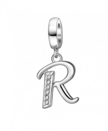Alphabet Letter Charms Solid 925 Sterling Silver Letter Initial A-Z Crystal Charms Bead for Bracelet Necklace (R) - CQ188U94OQT