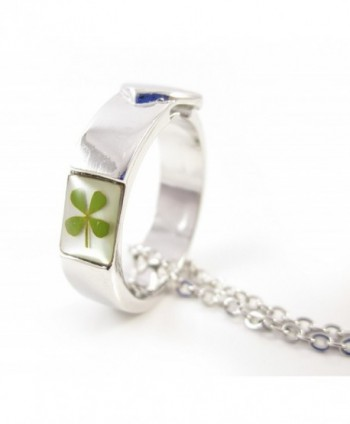The Lucky Ring Necklace Size 7! Genuine Four-leaf Lucky Clover Shamrock Crystal Amber Pendant Necklace - CV12DW4H4E7