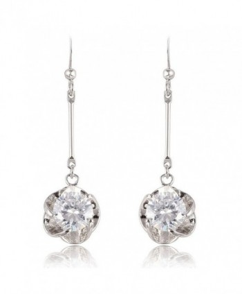 Yazilind Dazzling Silver Plated Round Cut Flower Clear Cubic Zirconia Long Dangle Drop Earrings - Clear - CS11MUCWTS9