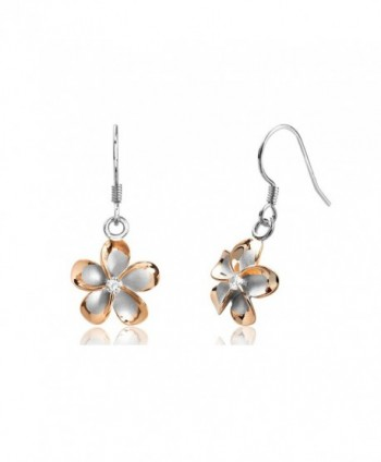 Sterling Silver with 14k Rose Gold Plated CZ Plumeria Hook Earrings- 14mm - CL1175T96OR