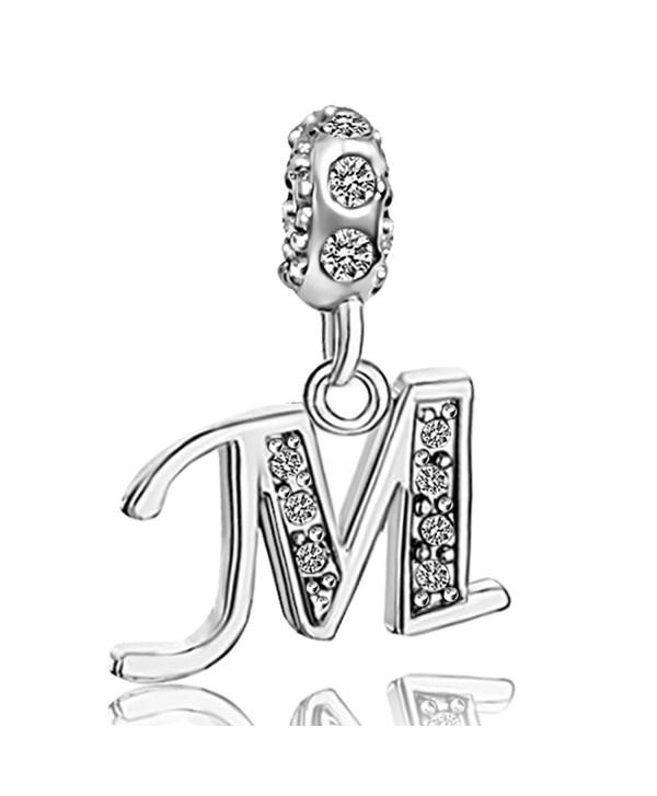 JMQJewelry Letter Initial A-Z Alphabet Beads Dangle Crystal Charms For Bracelets - C7182T2LE5Q