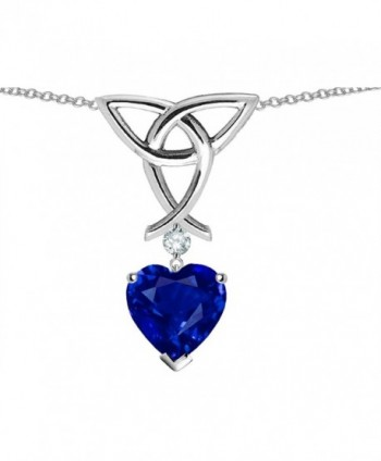 Star K Sterling Silver Celtic Knot Pendant wtih 8mm Heart Shape Stone - Created Sapphire - C0115E6OBQV