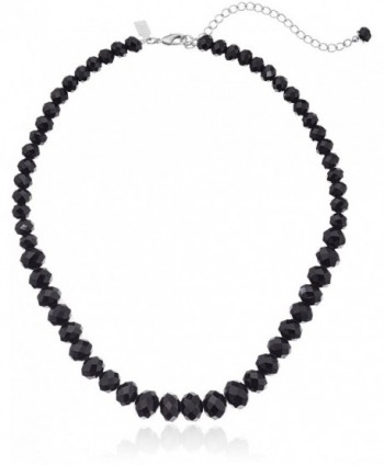 "1928 Jewelry Black Graduated Beaded Strand Necklace- 16"" + 3"" Extender - CN115VCGNRX"