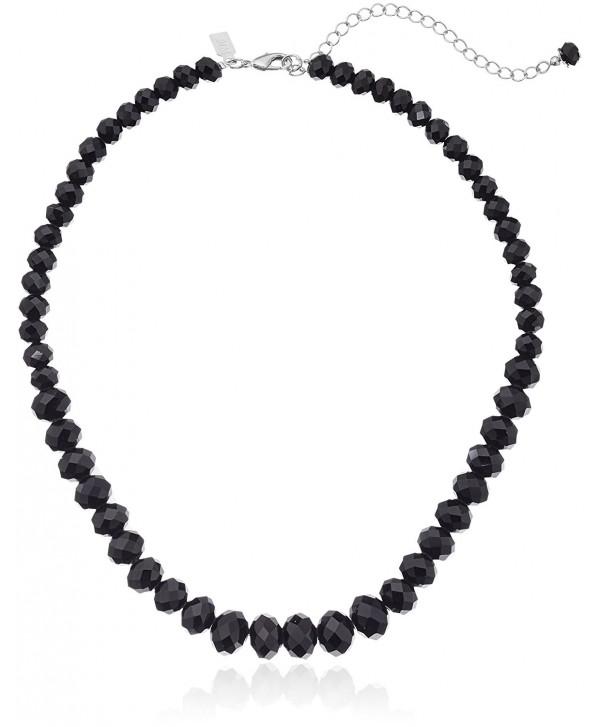 "1928 Jewelry Black Graduated Beaded Strand Necklace- 16"" + 3"" Extender - CN115VCGNRX"