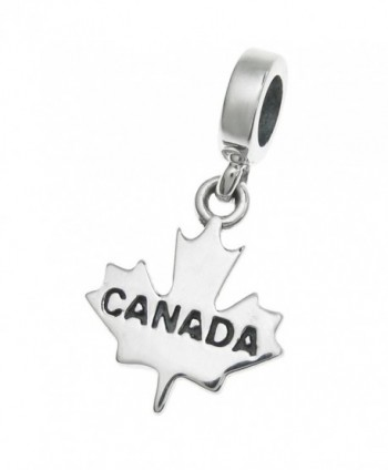 925 Sterling Silver Canada Maple Leaf Dangle For European Charm Bracelets - CU11ZV172FL