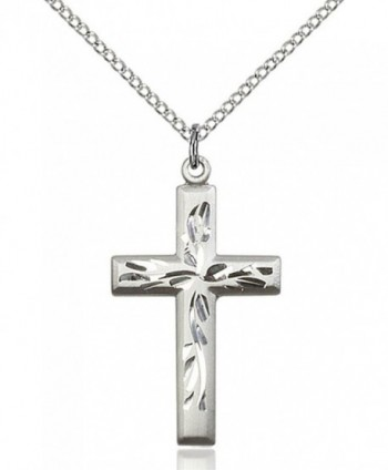 Women's Sterling Silver Hand Etched Cross Pendant + 18 Inch Sterling Silver Chain - C9119PYGLT3