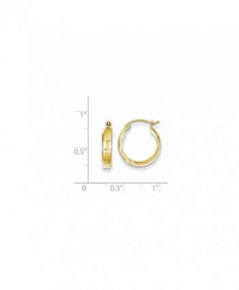 10k Yellow Gold Square Tube Hoop Earrings (0.5IN Long) - C7119CBGW7P