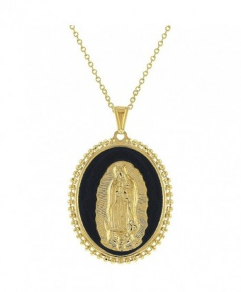 "18k Gold Plated Our Lady of Guadalupe Medal Pendant Catholic Necklace Women 19"" - C712O51COB1"