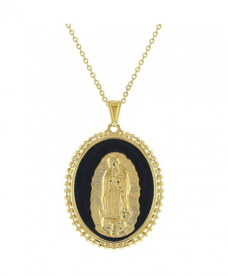 """18k Gold Plated Our Lady of Guadalupe Medal Pendant Catholic Necklace Women 19"""" - C712O51COB1"""