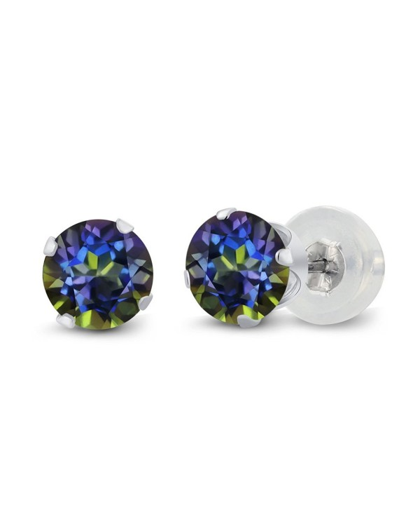 1.20 Ct Round Blue Mystic Topaz 10K White Gold 4-prong Stud Earrings 5mm - CL1191KNIIX