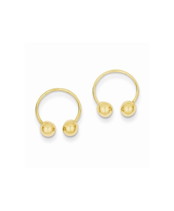 14k Yellow Gold Open Hoop Beaded Earrings - C81202WP8DB