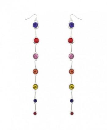 Lux Accessories SilverTon Multicolor Imitation Birthstone Circle Dangle Earrings - C7183S3QDM2