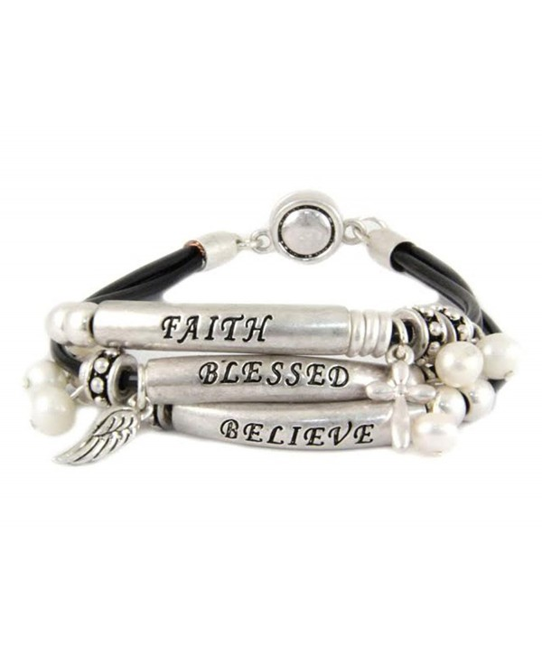 4030740 Faith Believe Blessed Strand Bracelet Beaded Knotted Cord Wrap - C811CPTM5QN