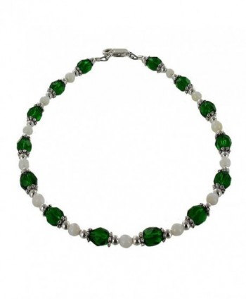 Womens Dark Green Czech Fire Polished Glass- Mother of Pearl & Sterling Silver Beaded Anklet with Daisies - C811CPAJRF3