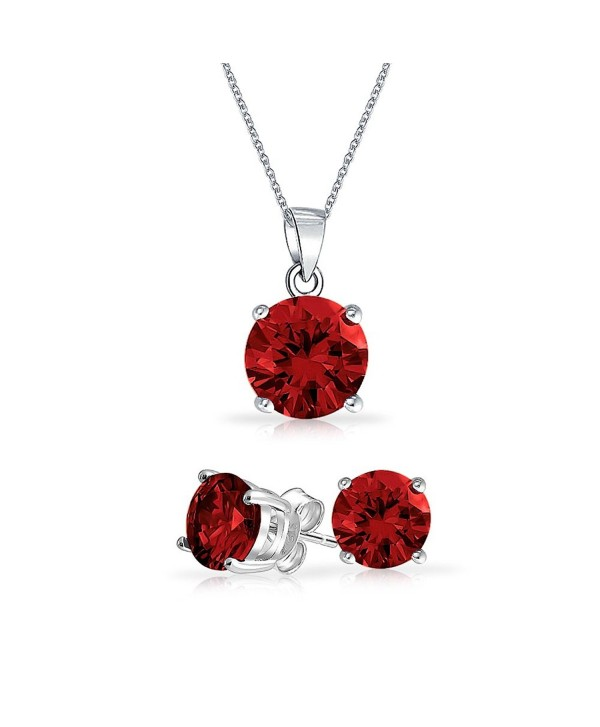 Bling Jewelry Simulated Garnet CZ Set 7mm Sterling Silver Stud Set - CD121PR6GOH