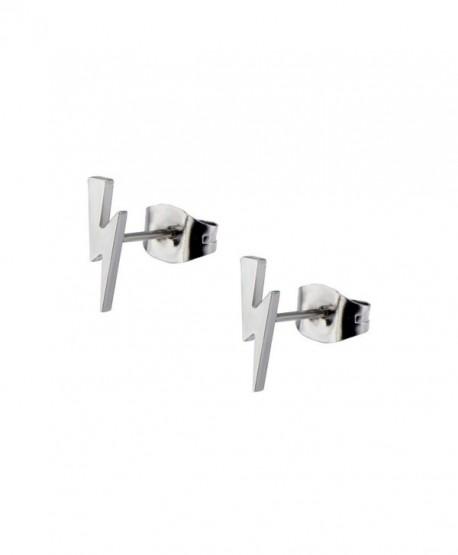 Inox Jewelry Womens Stainless Steel Lighting Bolt Stud Earrings (Metal) - CY11S2Q31D9