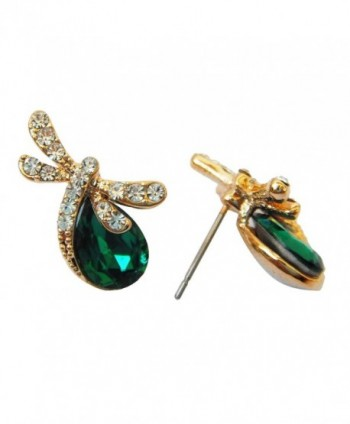 Navachi 18k Gold Plated Pear-shaped Green Zircon Crystal Dragonfly Stud Earrings - C811T0AY913