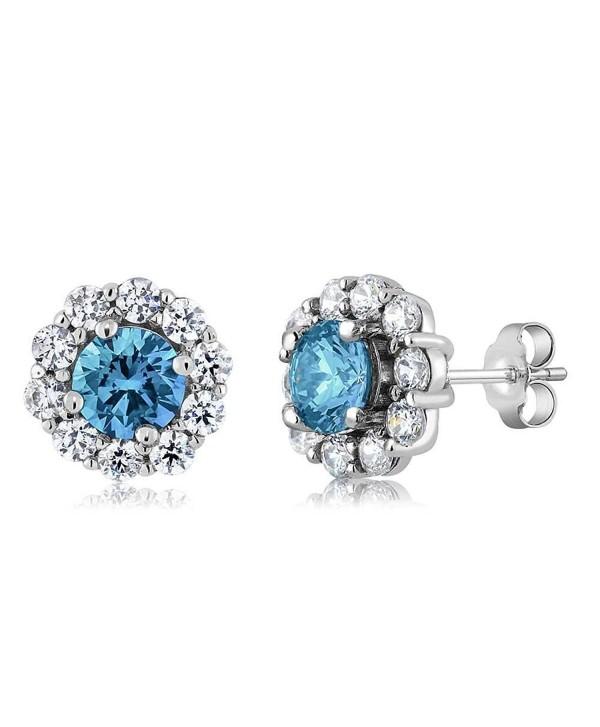 4.00 Ct Round Swiss Blue Topaz Gemstone Birthstone 925 Sterling Silver Stud Earrings - C311Q6FFPL9