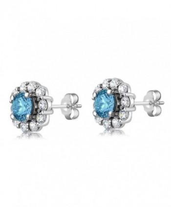 Gemstone Birthstone Sterling Silver Earrings in Women's Stud Earrings