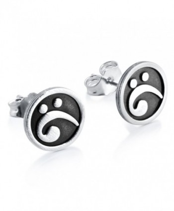 925 Sterling Silver Bass Clef Musical Note Post Earrings Pair E0248S - CI11BFK6B95