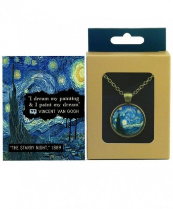 "The Starry Night by Van Gogh - Pendant in Quote Box - ""I dream my painting & I paint my dream."" - CA12O2QETPE"