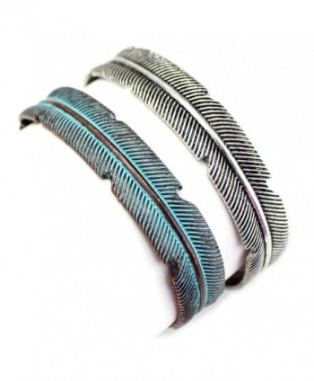 Silver or Copper / Patina Feather Cuff Fashion Bracelet from the WYO-HORSE Jewelry Collection - Silver - C2185LN828H