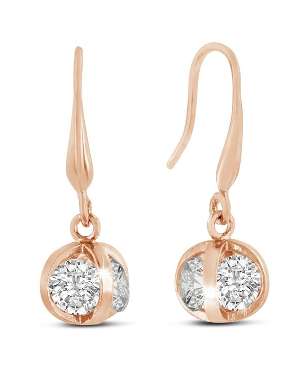 Sparkle Bargain's Swarovski Elements Sparkle Ball Women's Fashion Earrings - Rose - C4128T3S9GX