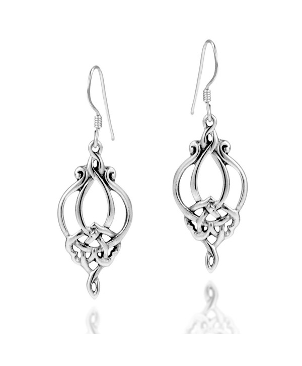 Gorgeous Celtic Filigree Knot Drop .925 Sterling Silver Dangle Earrings - CD11GFPBCU3