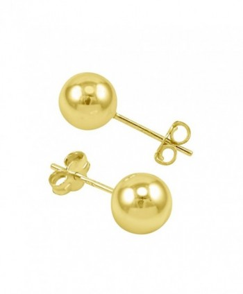 14k High Polished Yellow Gold Ball Stud Earrings With Butterfly & Gift Box - CN11MI46L29